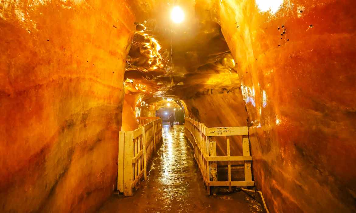 The glowing inside view of the bridge and chambers in the Khewra Salt Mines. — all pictures by author