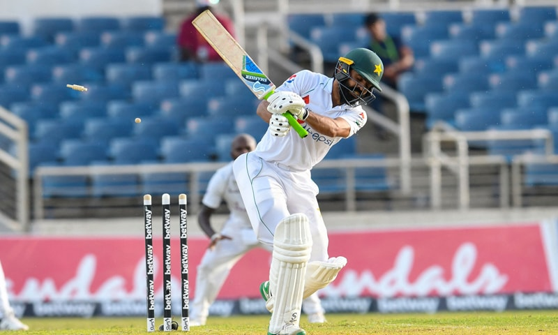 Fawad Alam bowled by Jason Holder of West Indies during day one of the first Test between West Indies and Pakistan at Sabina Park in Kingston, Jamaica. — AFP