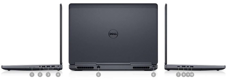 DellPrecision157520: ports et emplacements