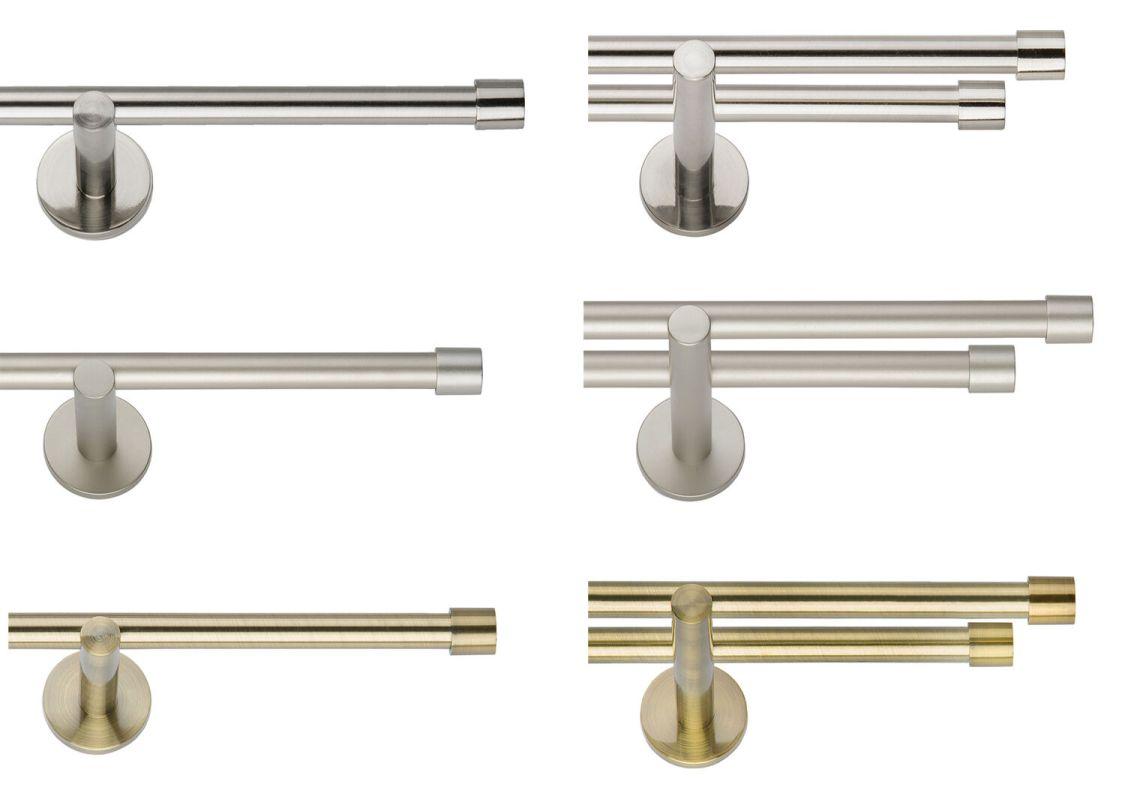 Gardinenstange 19mm Ein-,Zweiläufig: Antik, Chrom-Matt, Edelstahllook, Endkappe