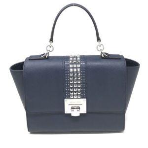 Michael Kors Tina Studded Satchel Bag Flap Chain Navy Crossbody Bag