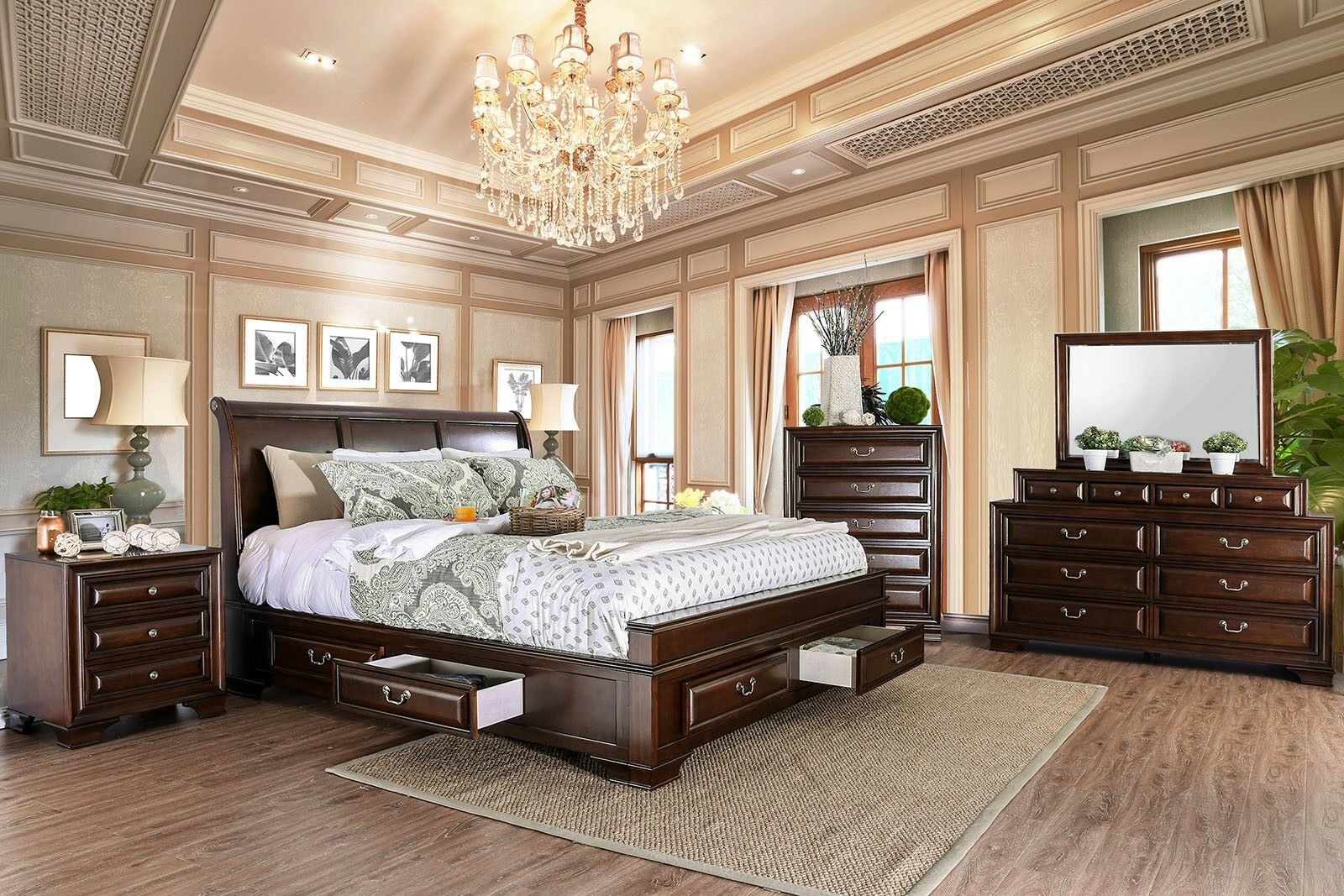 Bedroom Furniture Sleigh Cal King Bed Dresser Mirror Nightstand 4pc Set Brown