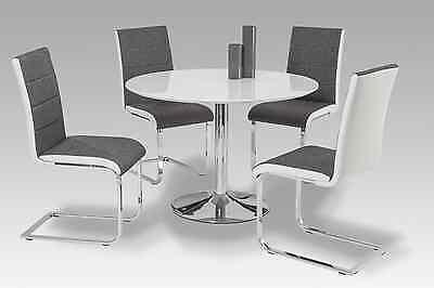 moderner Esstisch Hochglanz weiß rund Küchentisch Esszimmertisch Tisch verchromt