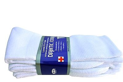 Diabetic WHITE CREW Socks circulatory Health  Men's Women's Cotton ALL SIZE  3