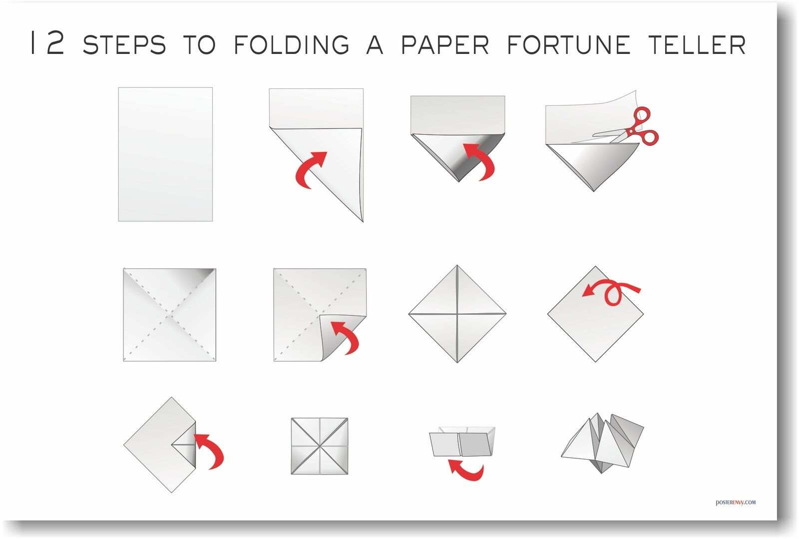 12 Steps To Folding A Paper Fortune Teller