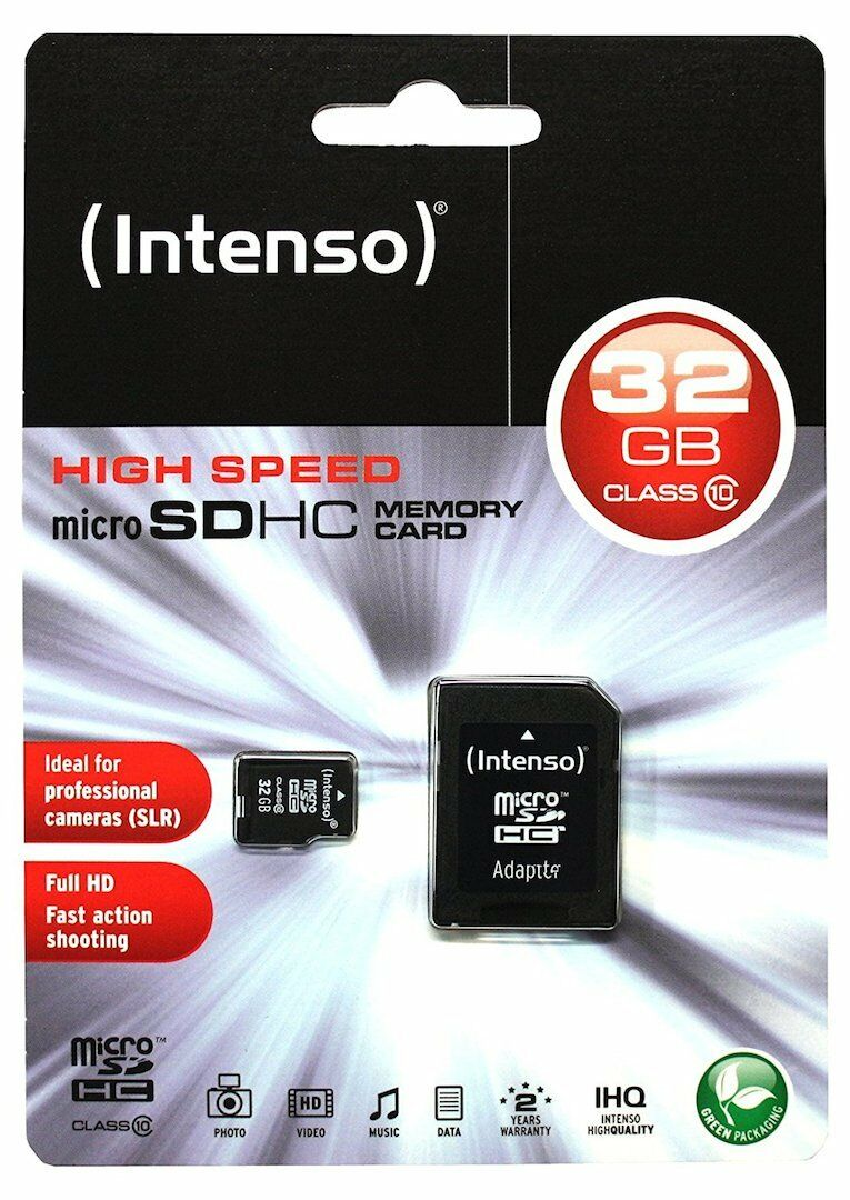 32 GB MicroSDHC Micro SD Speicherkarte mit SD-Adapter Intenso Class 10 Highspeed