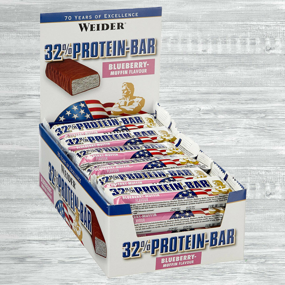 Weider 32% Protein Bar  24 x 60g Eiweiß Riegel  19,65 €/kg  auch Mix möglich