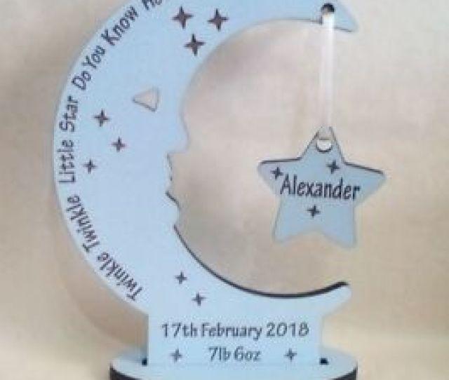 Personalised Newborn Baby Boy Gift Present Christening Keepsake Moon Star