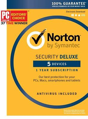Norton Security Deluxe 2018 for 5 Devices–PC Mac Android iOS Box (Key Card)