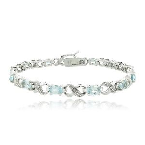 6.6ct TGW Blue Topaz & Diamond Accent Infinity Bracelet