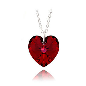 925 Silver Ruby Red Swarovski Elements Heart Necklace, 18""