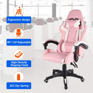 Computer Gaming Chair High Back Swivel Ergonomic Leather Racing Office Pink New