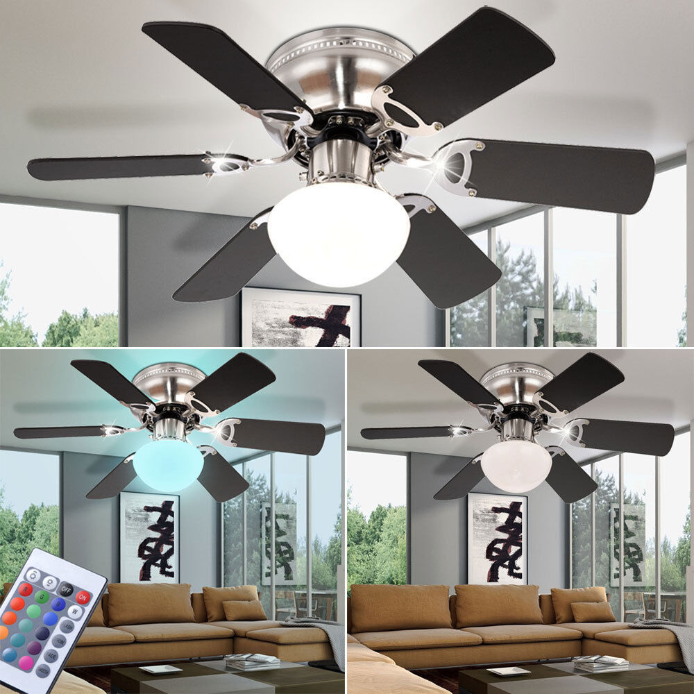 LED Decken Ventilator Lampe RGB Fernbedienung Wind Lüfter Kühler dimmbar Büro