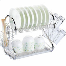 Durable 2 Tiers Dish Cup Drying Rack Holder Organizer Drainer Dryer Tray