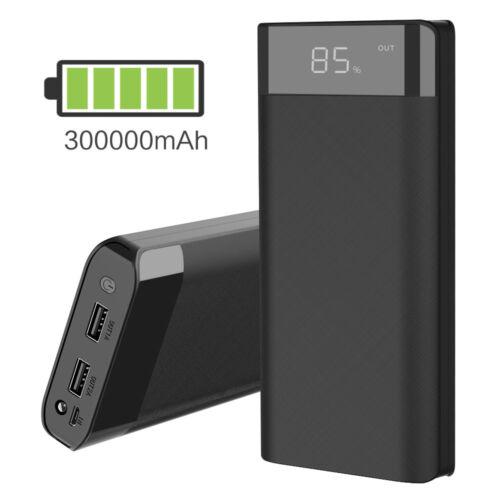 300000mAh Powerbank Externer Ladegerät Zusatzakku Tragbare 2USB LED Charger