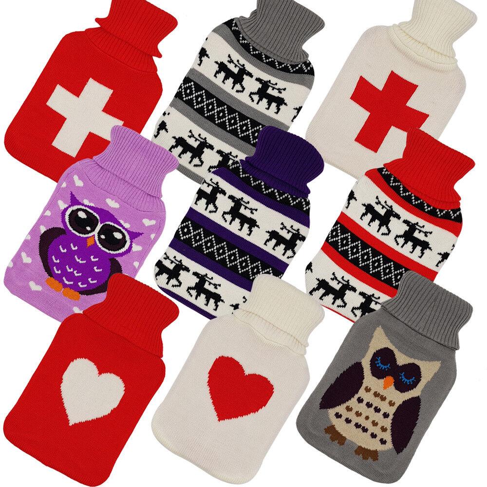 Wärmflasche Überbezug Bezug Gummi Wärmeflasche Strickbezug Wärmkissen Flasche