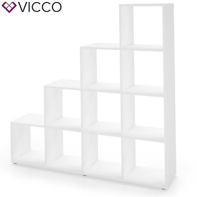 VICCO Treppenregal 10 Fächer Weiß - Raumteiler Stufenregal Bücherregal Treppe