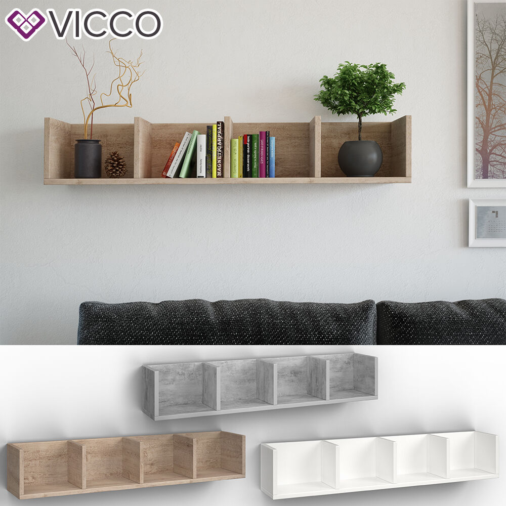 VICCO Wandregal 90 cm für CD DVD Deko Spiele Bücher Medienregal Regal 3 Farben