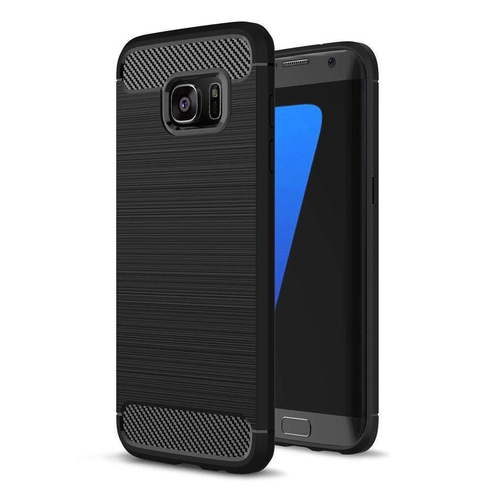 Samsung Galaxy S7 Edge Handy Schutz Hülle Case Carbon Fiber Optik Brushed Etui