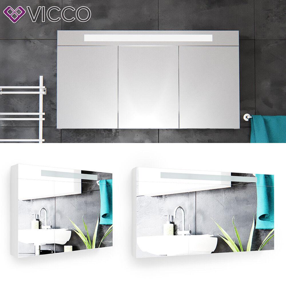 VICCO 3D LED Spiegelschrank Weiß Badschrank Badspiegel Badezimmerspiegel Auswahl