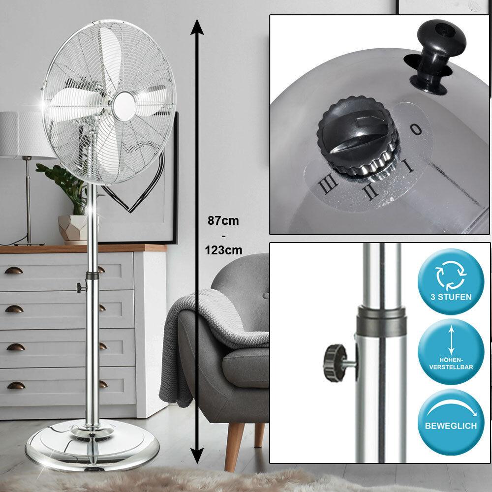 Stand-Ventilator 44,5cm Metall Büro Raum Luftkühler Klimagerät Oszillierend NEU