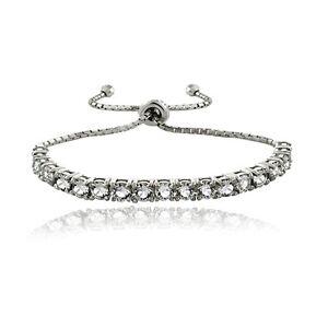 Sterling Silver Swarovski Elements Adjustable Bracelet, 3 Colors