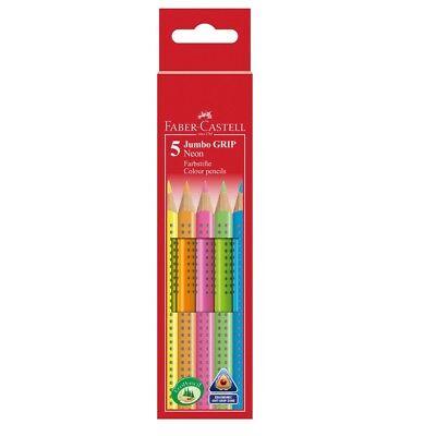 Faber-Castell Textmarker Buntstifte Neon Jumbo Grip Dreikant 5er-Set Highlighter