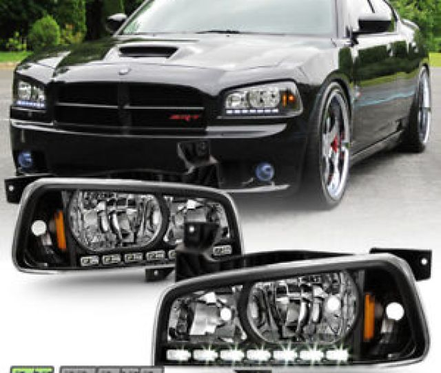 Black 2006 2010 Dodge Charger Led Drl Headlights W Built In Corner Signal Lamps