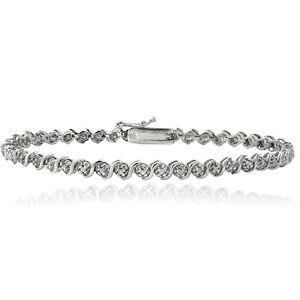 925 Silver 1/4ct Diamond S Design Tennis Bracelet