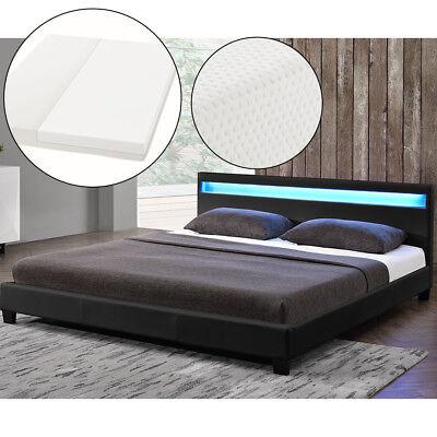 Polsterbett Doppelbett Kunstlederbett mit  LED Bettgestell Matratze 140 x 200 cm