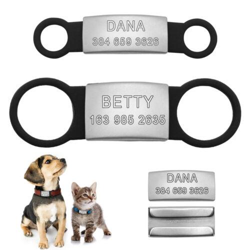 Hundemarke mit Gravur Edelstahl & Silikonring für Hund Welpe Katze Halsband S L