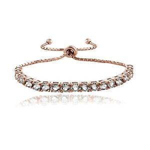 18K Rose Gold over Sterling Silver Swarovski Elements Adjustable Bracelet