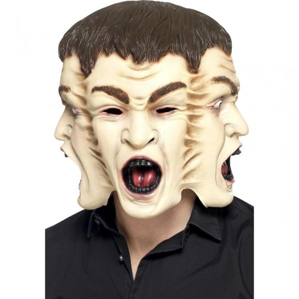 3 Headed Human Mask Human Hydra 3 Heads 1 Neck Latex Face Halloween Adult NEW
