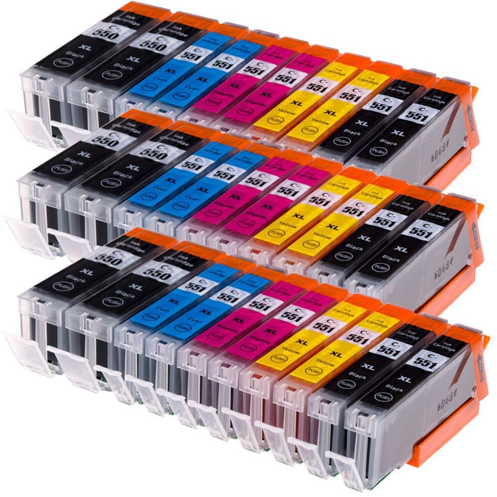 30x DRUCKERPATRONEN  für CANON PGI-550 CLI-551 XL IP7250 MG5550 MX925 MG5650