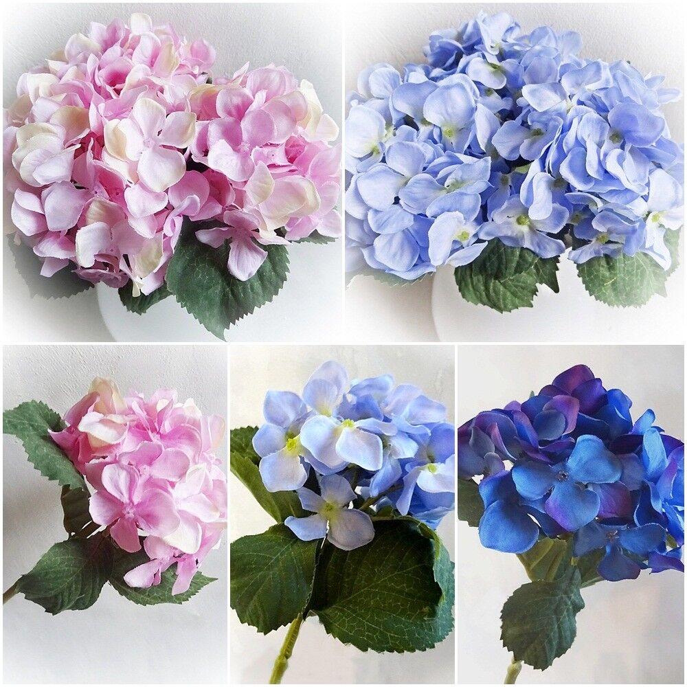 3 Farben- künstliche Hortensie mit Stiel 27 cm- Kunstblume Hochzeit Deko Basteln