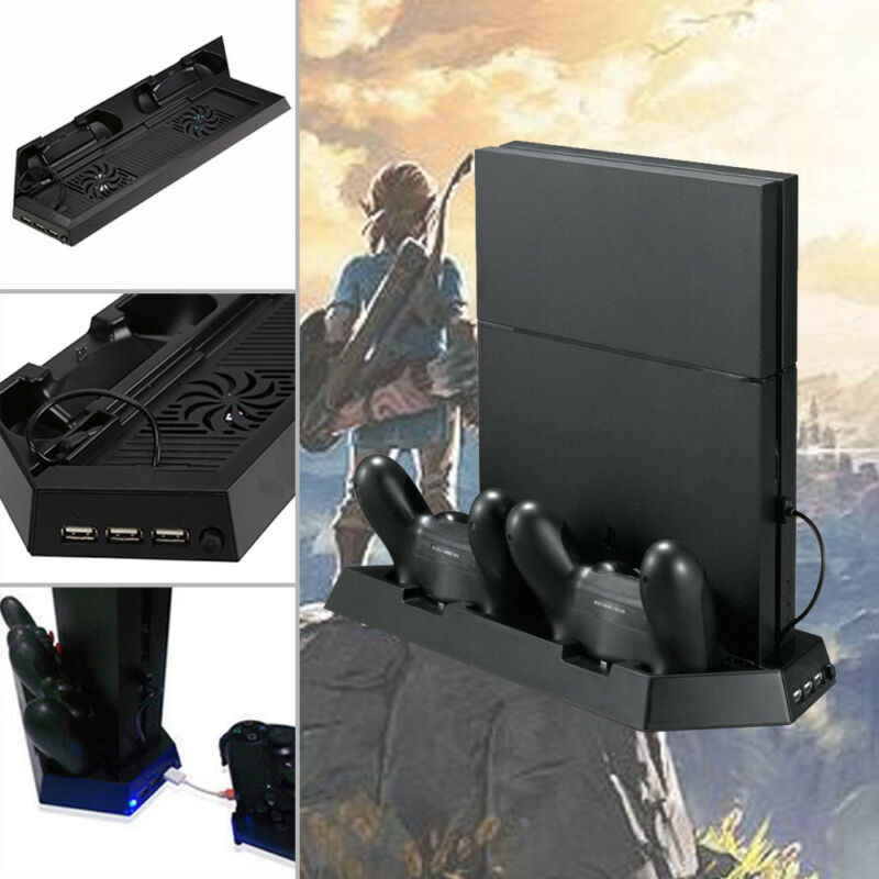 PS4 Controller Ladestation Standfuß mit Kühler Lüfter 3x USB Anschluss schwarz