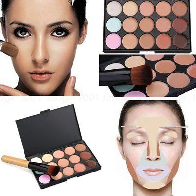 15 Farben Gesicht Kontur Make-up Camouflage Palette Creme Concealer Kit + Pinsel