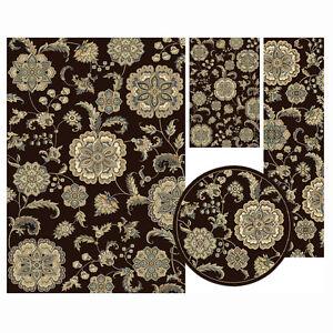 Traditional Oriental Brown Floral 4 Pcs Vines Leaf Area Rug Round Runner Mat Set