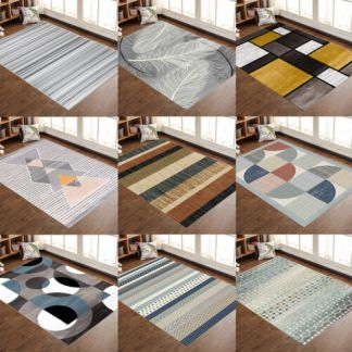 Contemporary Modern Soft Area Rugs Nonslip Velvet Home Room Carpet Floor Mat Rug