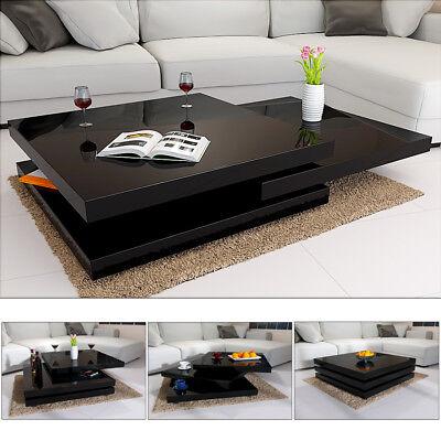 Deuba® Couchtisch Schwarz Hochglanz Wohnzimmertisch Beistelltisch Sofa Tisch