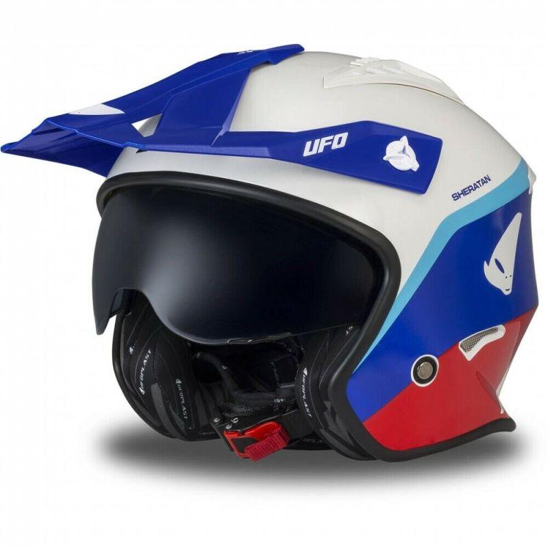 Casco moto UFO Jet Sheratan trial scooter colore bmw africa twin rosso blu