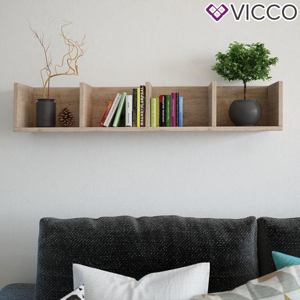 VICCO Wandregal 90 cm Sonoma Eiche für CD DVD Deko Bücher Medienregal Regal