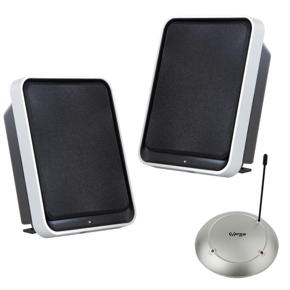 Funk Lautsprecher Stereo 2x50Watt BASSBOOST 100m UHF Plug&Play wireless Boxen