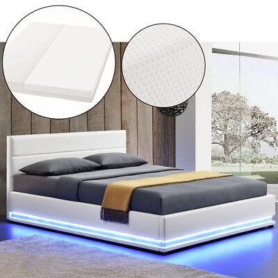 Polsterbett Kunstlederbett Bettkasten mit LED Bettgestell Matratze 140 x 200 cm