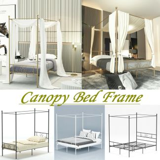 Canopy Bed Frame Twin Full Queen Mattress Foundation with Headboard & Footboard