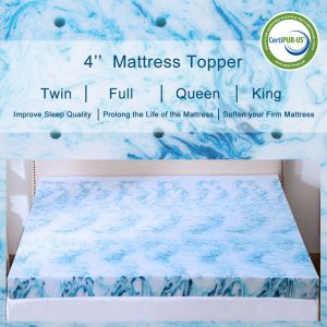 Gel Memory Foam Mattress Topper 2.5/3/4 Inch Lavender Blue Swirl Queen King Twin