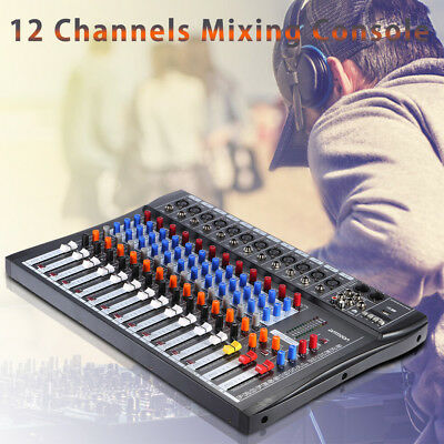 12 Kanal Mic Line Audio Mixer Mischpult USB 3-Band EQ mit 48V Phantomspeisung