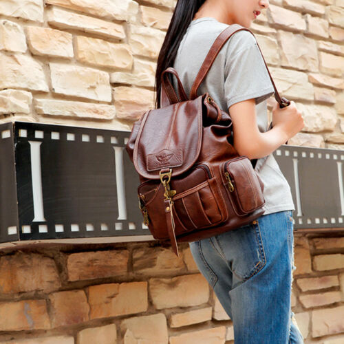 Vintage Womens Leather Backpack Shoulder School Shoulder Satchel HandBag Travel 6