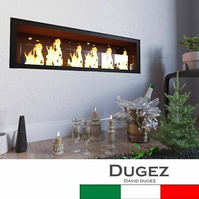 Bio ethanol fireplace 87cm with built-in Wall 6 runde burner 0.5 with glass Gel