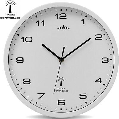 DEUBA® Wanduhr Funkuhr Quarz Funkwanduhr Analog Uhr 31cm Zeitumstellung